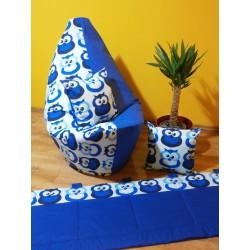 Sada - sovičky modré + tm. modré plátno