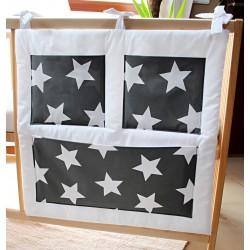 Kapsář na postýlku - hvězdičky šedé velké