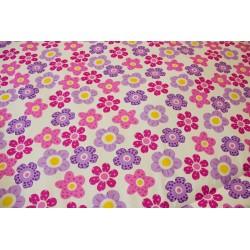 Přehoz - kytička + malinově růžové plátno
