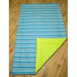 Přehoz - modré proužky + limetkové plátno
