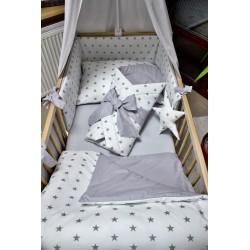 Povlečení dětské - hvězdičky bílé na šedé