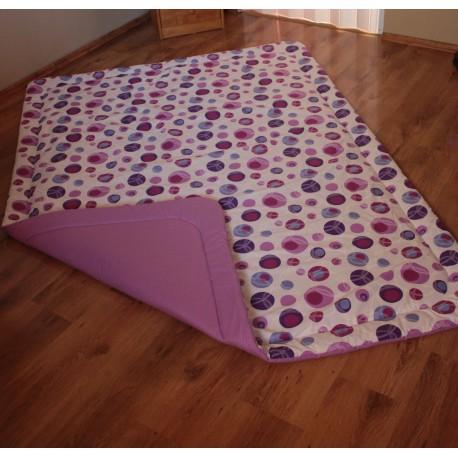 Přehoz - růžovo-fialová kytka s tm.fialovým plátnem