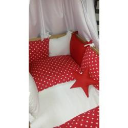 Mantinel polštářový - hvězdičky bílé na červené