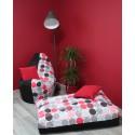 Sedací vak - kolečka červená s černým plátnem