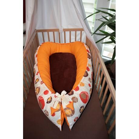 Hnízdečko pro miminka XXL - bublina hnědá + oranžové plátno