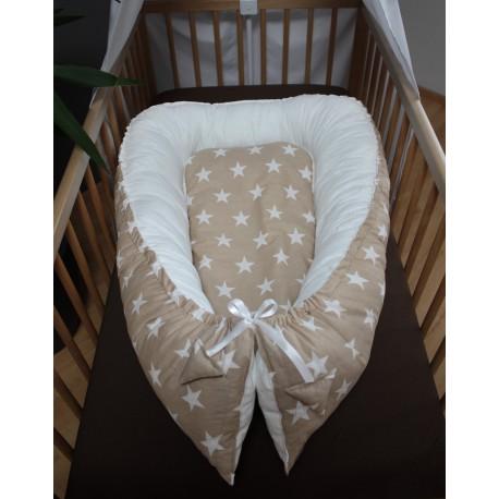Hnízdečko pro miminka XXL - hvězdičky béžové velké