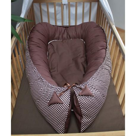 Hnízdečko pro miminka XXL - puntíky s čokoládovou