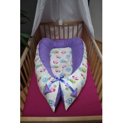 Hnízdečko pro miminka XXL - barevné sovičky + fialové plátno