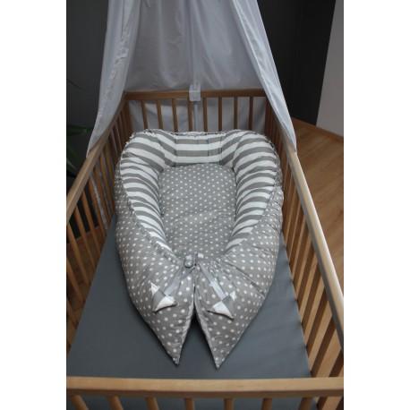 Hnízdečko pro miminka XXL - puntíky a proužky s šedou