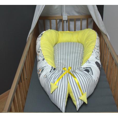 Hnízdečko pro miminka XXL - pejsci se žlutou a proužky