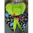 Hnízdečko pro miminka XXL - barevné motivy s limetkovým mikroplyšem