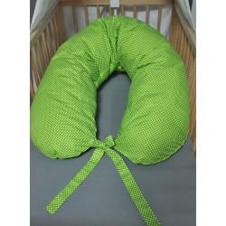 Kojicí polštář - bílé puntíky se zelenou