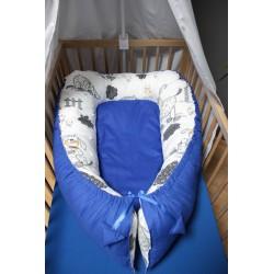 Hnízdečko pro miminka XXL - pejsci s tmavě modrým plátnem