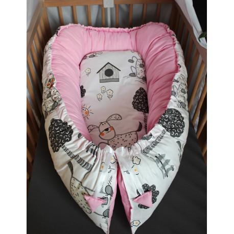 Hnízdečko pro miminka XXL - pejsci se světle růžovou