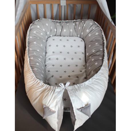 Hnízdečko pro miminka XXL - hvězdičky šedé