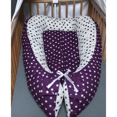 Hnízdečko pro miminka XXL - hvězdičky fialové