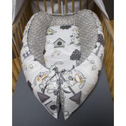 Hnízdečko pro miminka XXL - pejsci s puntíky na šedé