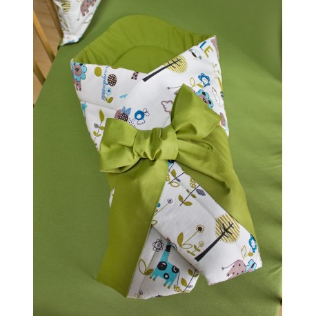 Zavinovačka - zvířátka + khaki zelená