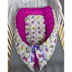 Hnízdečko pro miminka XXL - motýlci + fuchsiové plátno