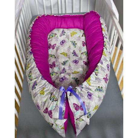 Hnízdečko pro miminka XXL - motýlci se světle fialovou