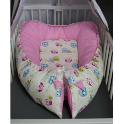 Hnízdečko pro miminka XXL - barevné sovičky + růžové plátno