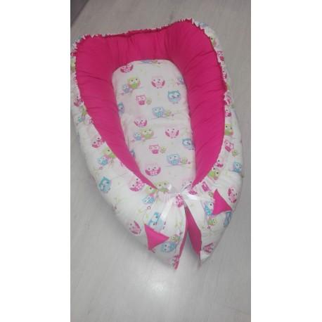 Hnízdečko pro miminka XXL - barevné sovičky + malinové plátno