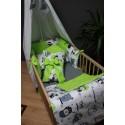 Sada do postýlky - sovičky s limetkově zeleným plátnem