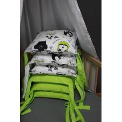 Mantinel polštářový - sovičky s limetkově zeleným plátnem