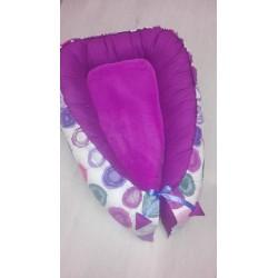 Hnízdečko pro miminka XXL - kruhy s fialovým plátnem
