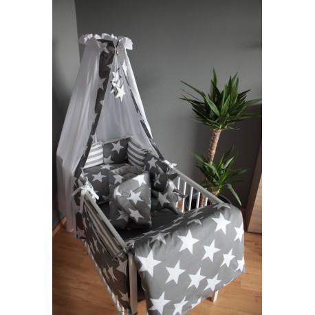 Mantinel polštářový - hvězdičky bílé velké na šedém plátně s pruhem