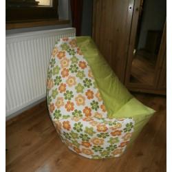 Vak střední - kytička oranž/zelená + limetkové plátno