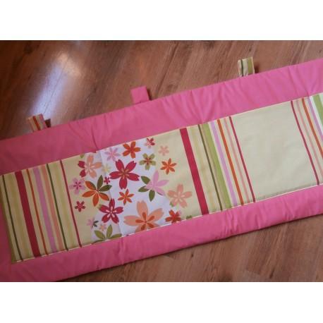 Kapsář - růžové plátno + květ s proužkem