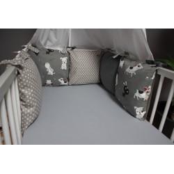 Polštářový mantinel - pejsci + šedé plátno a puntíček