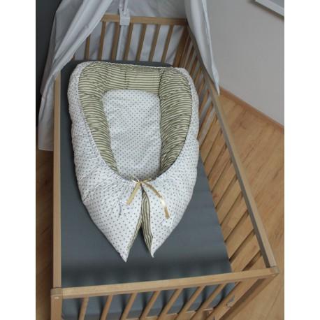 Hnízdečko pro miminka XXL - puntíky s béžovými proužky