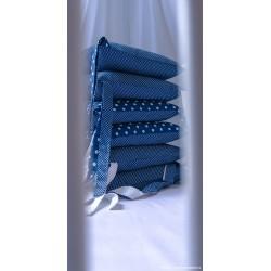 """Sada do postýlky - puntíky na """"jeans""""modré + bílá"""