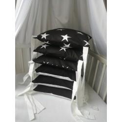 Polštářový mantinel - bílé hvězdy na černé + bílá