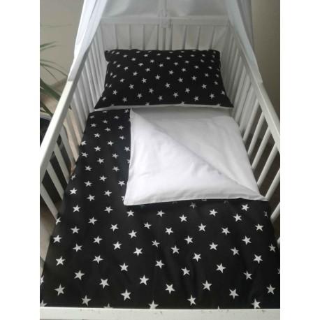 Povlečení dětské - bílé hvězdičky na černé + bílá