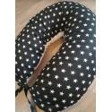 Kojicí polštář - bílé hvězdičky na černém podkladě s bílým plátnem