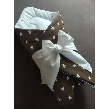 Zavinovačka - hvězdička bílá na hnědé + bílé plátno