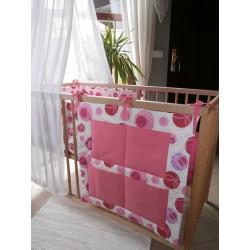 Kapsář na postýlku - jahodová bublina + růžové plátno