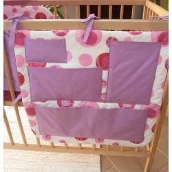 Kapsář na postýlku - bublina jahodová + sv.fialové plátno (lila)