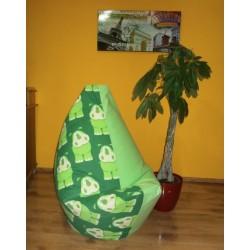 Sedací vak - hroch + zelené plátno