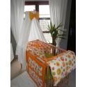 4 dílná sada do postýlky - bublina oranžová + oranžové plátno
