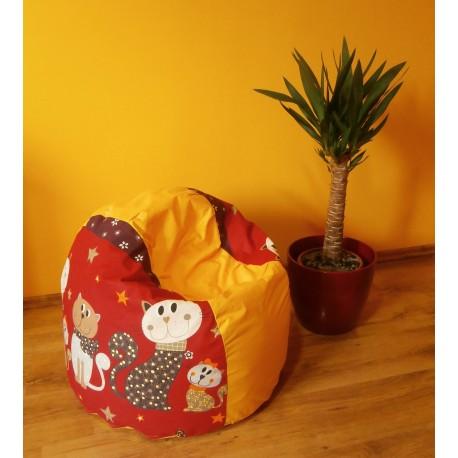 Sedací vak koule - kočky na sytě žlutém plátně
