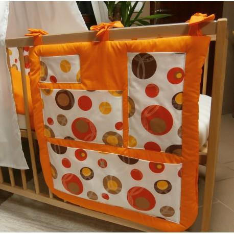 Kapsář na postýlku - bublina hnědá + oranžové plátno