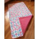 Přehoz na postel - kytička tyrkysová+ malinově růžové plátno