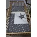 Povlečení dětské - hvězdičky bílé na šedém plátně