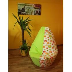 Sedací vak - bublina oranžová + limetkové plátno
