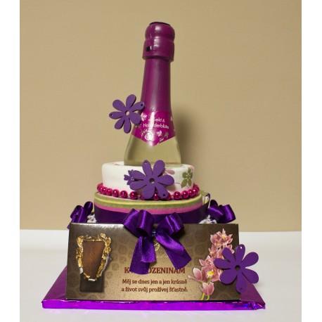 Dort z utěrek + fialový k narozeninám